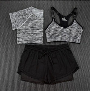 Womens Fashion Crop Top + Shorts + Tee - 3 Piece Set