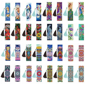 2PCS/Set DIY Decorative Diamond Painting Bookmarks With Tassel