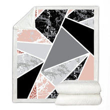 Load image into Gallery viewer, Marble Soft Glitter Geometric Sherpa Fleece Blanket