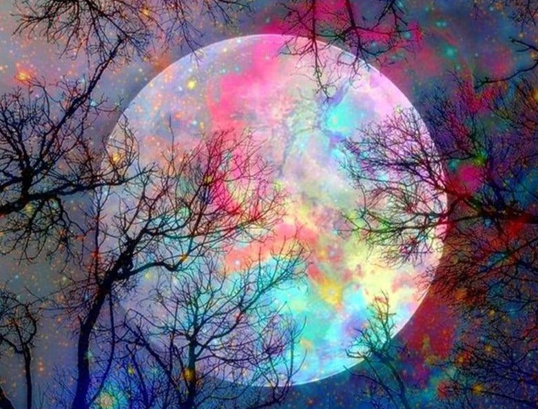DIY 5D Rainbow Moonlight Diamond Painting