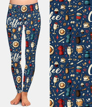 Load image into Gallery viewer, Womens Blue Coffee Printed Leggings
