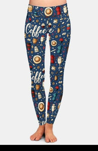 Womens Blue Coffee Printed Leggings