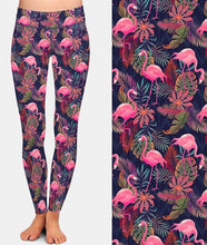 Load image into Gallery viewer, Ladies Super Soft Flamingos and Palms Printed Leggings