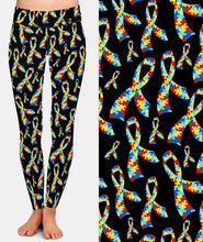 Load image into Gallery viewer, Ladies Beautiful Autism Ribbon Design Leggings