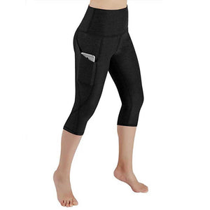 Ladies High Waist Yoga Capri Pants with Pocket
