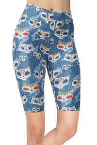 Assorted Womens Sugar Skull Printed Bike Shorts