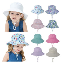 Load image into Gallery viewer, Kids Assorted Coloured Summer Bucket Hats With Adjustable Tie