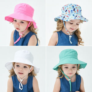 Kids Assorted Coloured Summer Bucket Hats With Adjustable Tie