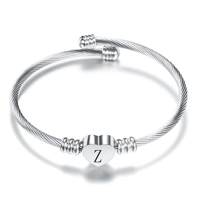 Fashion Heart Charm Bangle With Initial Engraved