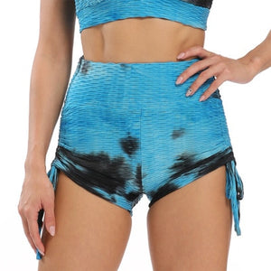 Ladies Colourful Tie-Dye Push Up Anti Cellulite Fitness Leggings & Shorts