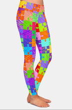 Load image into Gallery viewer, Womens Jigsaw Puzzle Pieces Printed Leggings