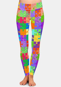 Womens Jigsaw Puzzle Pieces Printed Leggings
