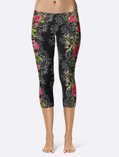 Ladies Black Capri Leggings With Floral Side Prints