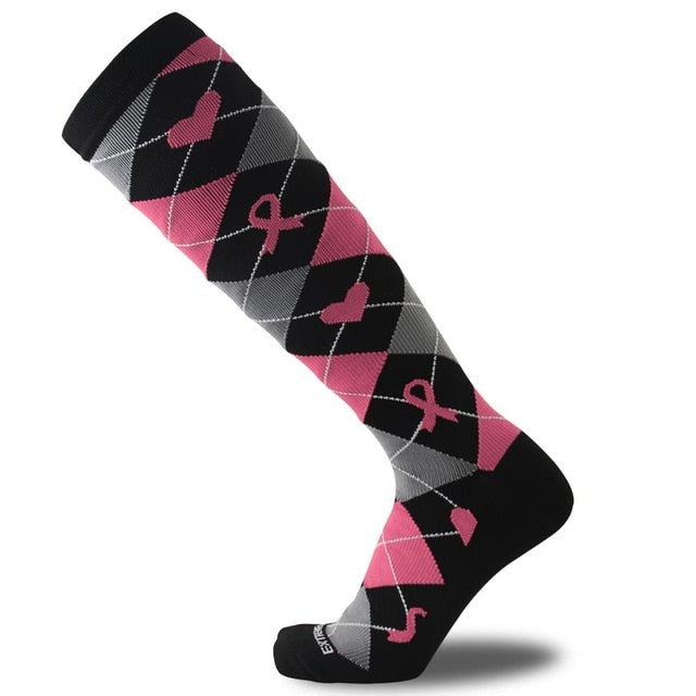 Multi-Coloured Womens Long Thigh Compression Socks