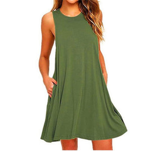 Ladies Sleeveless Summer Casual Cotton Solid Colour Dress With Pocket