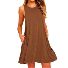 Load image into Gallery viewer, Ladies Sleeveless Summer Casual Cotton Solid Colour Dress With Pocket