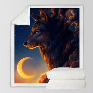 Black Wolf Moon & Assorted Plush Sherpa Blankets