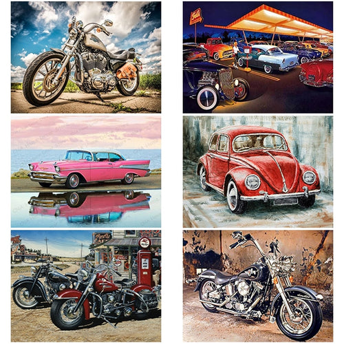 DIY 5D Classic Motorcycles And Cars Diamond Paintings