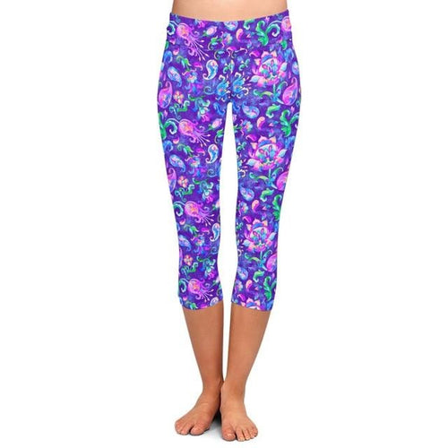 Womens Watercoloured Floral Printed Capri Leggings