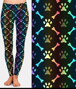 Ladies Super Soft Printed Paw Footprints & Bones Design Leggings