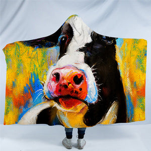Milk Cow Hooded Plush Sherpa Blankets