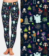 Load image into Gallery viewer, Ladies Halloween Ghosts And Scary Stuff Brushed Leggings