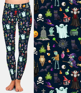Ladies Halloween Ghosts And Scary Stuff Brushed Leggings
