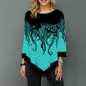 Womens Printed O-Neck Tunic Blouses