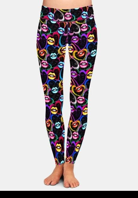 Ladies Sexy Coloured Lips Printed Leggings
