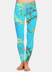 Womens Stunning Blue & Gold Flecks Leggings