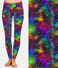 Load image into Gallery viewer, Ladies Colourful Rainbow Universe Printed Leggings