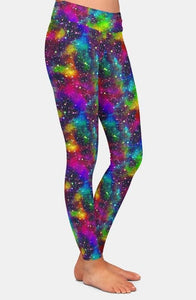 Ladies Colourful Rainbow Universe Printed Leggings