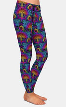 Load image into Gallery viewer, Ladies Mandala Elements Of Paisley And Dragonfly Printed Leggings