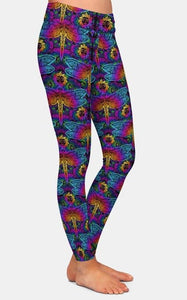 Ladies Mandala Elements Of Paisley And Dragonfly Printed Leggings