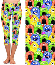 Load image into Gallery viewer, Ladies 3D Funny Monsters Brushed Capri Leggings