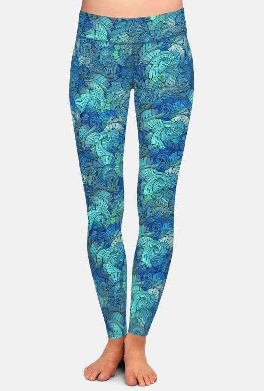 Ladies Super Soft Waves Patterned Leggings