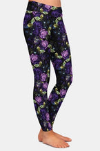 Load image into Gallery viewer, Ladies Beautiful Purple Rose Printed Leggings