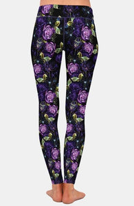 Ladies Beautiful Purple Rose Printed Leggings