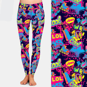 Ladies Vintage Roller Skate Design Printed Leggings