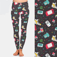Load image into Gallery viewer, Ladies Vintage Roller Skate Design Printed Leggings