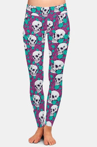 Ladies Purple Leggings With White Skulls & Leaves