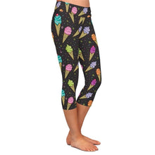 Load image into Gallery viewer, Ladies Yummy Colourful Icecream Cones Printed Capri Leggings