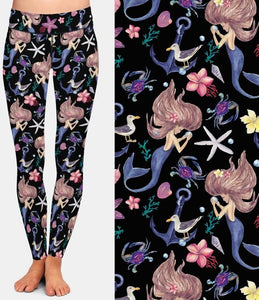 Ladies Cartoon Mermaid Under The Sea Printed Leggings