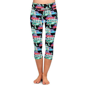 Ladies 3D Cartoon Classic Cars Printed Capri Leggings