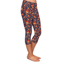 Load image into Gallery viewer, Ladies Paisley/Orange Floral Patterned Soft Brushed Capri Leggings