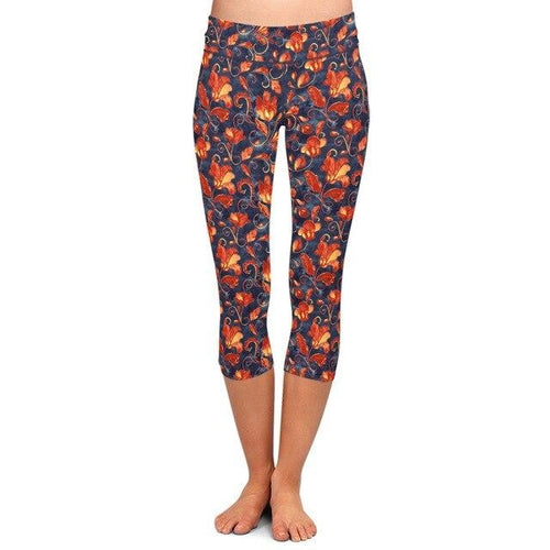 Ladies Paisley/Orange Floral Patterned Soft Brushed Capri Leggings