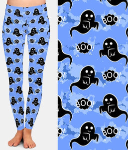 Ladies Assorted Fashion Halloween Witch Bat Ghost Printed Leggings