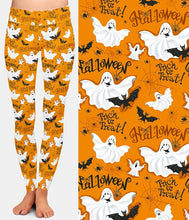 Load image into Gallery viewer, Ladies Assorted Fashion Halloween Witch Bat Ghost Printed Leggings