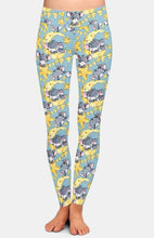 Load image into Gallery viewer, Ladies Cute Mice On The Cheese Moon Printed Leggings