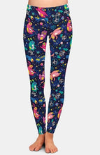 Load image into Gallery viewer, Ladies Gorgeous Space Bunnies Soft Printed Leggings